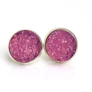 3 for $15🎀milky honeysuckle pink faux druzy studs